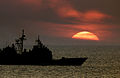 Ticonderoga Class Cruiser USS Normandy (CG 60) -- Atlantic sunset.jpg