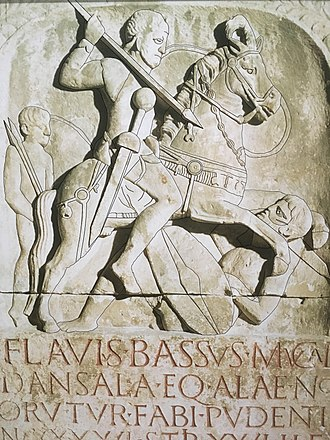 Roman cavalry - Tombstone of cavalryman (eques) Titus Flavius Bassus son of Mucala the Thracian, who died aged 46 after 26 years of service. Dated AD 70-96 and is in the Römisch-Germanisches Museum, Cologne, Germany.