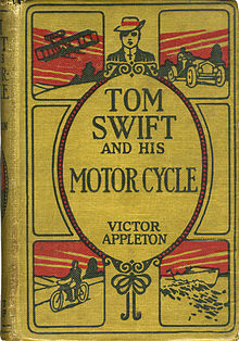 "Book cover showing title, and author ""Victor Appleton"". The title is surmounted by a drawing of a boy in a curly brimmed hat. Around the title are pictures of a plane, a car, a boat and a motor cycle."
