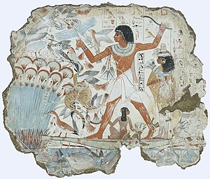 Throw stick (hieroglyph) - Colorful, vibrant marsh hunting scene, with spouse and family.
