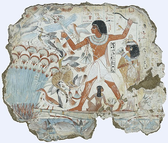 Colorful, vibrant marsh hunting scene, with spouse and family. Tomb of Nebamun.jpg