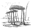 Tombeau des Indiens Dacota, circa 1796, drawn by Victor Collot.png