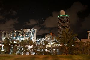 Townsville - Townsville's CBD viewed from Central Park, with Castle Hill in the background.
