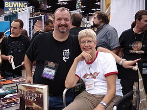 Tracy Hickman - Tracy Hickman (left) and Margaret Weis at Gen Con Indy 2008.
