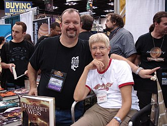Margaret Weis - Margaret Weis (seated) with Tracy Hickman at Gen Con Indy 2008