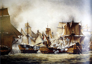 French ship Redoutable (1791) - Redoutable simultaneously engaged by Victory and Temeraire