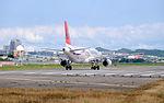 TransAsia Airways Airbus A320-233 B-22318 Taking off from Taipei Songshan Airport 20151003a.jpg