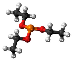 Ball-and-stick model of the triethyl phosphite...