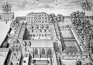 History of Trinity College, Oxford - Trinity in 1675 depicted by David Loggan, showing the northern block (top centre), completed in 1668, but no western range; that would only be finished in 1684.