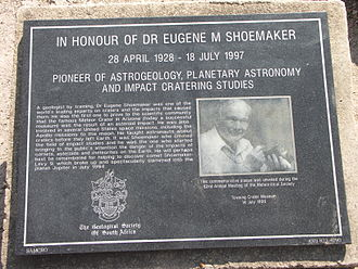 Tswaing crater - Memorial to Eugene Merle Shoemaker who showed that craters such as Tswaing are formed by impact.