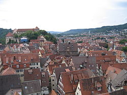 Tübingen Altstadt from the Stiftskirche bell tower in July 2007.