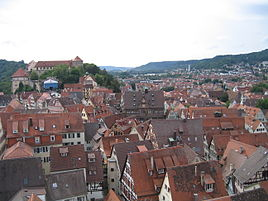 Tübingen from the Stiftskriche bell tower.