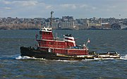A Tug boat, used for towing or pushing other, larger, vessels.