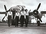 Turner Army Airfield - WASP Delivery Pilots in fromt of a TB-25 Mitchell