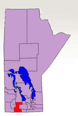 Turtle Mountain (electoral district) - The 1998-2011 boundaries for Turtle Mountain highlighted in red