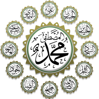 Twelver - Calligraphic representation of 12 Imams along with the name of the Prophet Muhammad.