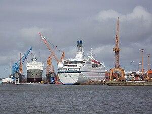 Lloyd Werft - Alexander von Humboldt (left) and Astor in the floating dock