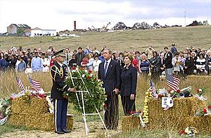 Shanksville, Pennsylvania - Photo of George W. Bush and Laura Bush visiting Stonycreek Township on September 11, 2002.