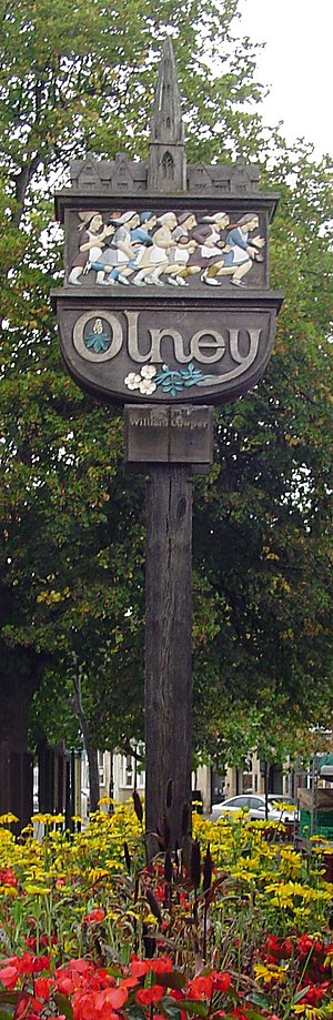 Olney, Buckinghamshire - A signpost in Olney