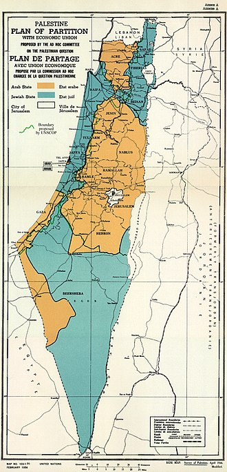 United Nations Partition Plan for Palestine - UNSCOP (3 September 1947; see green line) and UN Ad Hoc Committee (25 November 1947) partition plans. The UN Ad Hoc Committee proposal was voted on in the resolution.