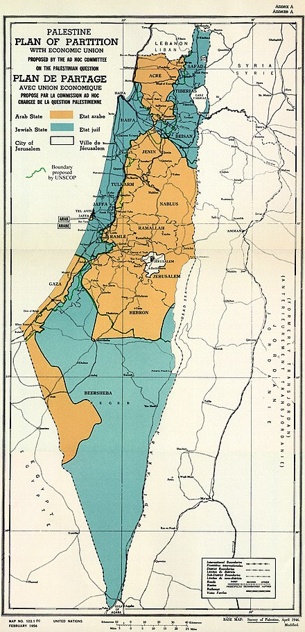 Proposed separation of Palestine UN Palestine Partition Versions 1947.jpg