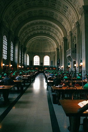 Public libraries in North America - Bates Hall reading room in the Boston Public Library.