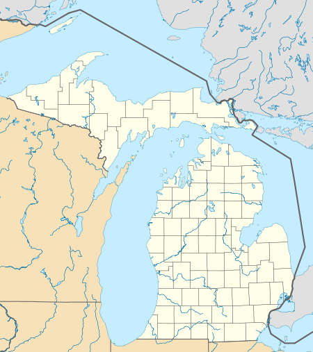 Map of Michigan with National Historic Landmarks named and marked by a dot