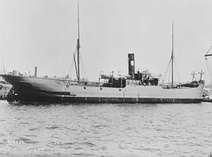 USS Caesar (AC-16) - USS Caesar (1898–1922) In port, possibly while fitting out for Navy service in April–May 1898