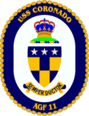 The ship's crest of the USS Coronado (AGF-11)