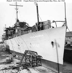 USS Peoria (PF-67) - Peoria fitting out at Sturgeon Bay, Wisconsin, January 1944