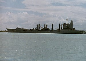 USS Platte (AO-186) - USS Platte off Puerto Rico after her jumboization, 1994.