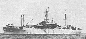 USS Taconic (AGC-17) at anchor, in 1947 (80-G-704282)
