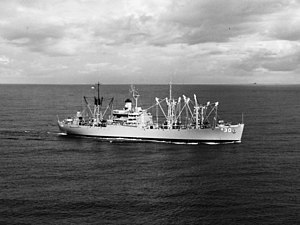 USS Virgo (AE-30) underway in Subic Bay in 1970