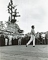 US Navy 030728-N-0000X-001 Entertainer Bob Hope tees-off on the flight deck aboard the aircraft carrier USS Ticonderoga (CVA 14) during his visit to the carrier off the coast of Vietnam.jpg
