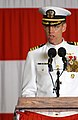 US Navy 030828-N-0967W-112 Capt. James Symonds delivers his remarks after assuming duties as commanding officer of USS Ronald Reagan (CVN 76) during a Change of Command ceremony held aboard the ship.jpg