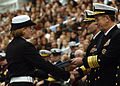 US Navy 031031-N-5576W-008 Vice Chief of Naval Operations (VCNO) Adm. Michael G. Mullen, congratulates an honor recruit during graduation ceremonies at Recruit Training Command (RTC) Great Lakes.jpg