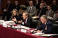 US Navy 050217-F-7203T-209 Secretary of Defense Donald H. Rumsfeld gestures to make a point as he answers a Senator's question during a Senate Armed Services Committee hearing.jpg