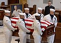 US Navy 050723-N-5390M-002 The casket of Medal of Honor recipient, retired Vice Adm. James B. Stockdale, is carried from the U.S. Naval Academy Chapel by the ceremonial guard.jpg