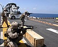 US Navy 070318-M-7459S-005 Marines attached to Echo Company, Battalion Landing Team 2-2, 26th Marine Expeditionary Unit, conduct an enhanced marksmanship program shoot aboard the amphibious assault ship USS Bataan (LHD 5).jpg