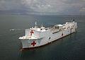 US Navy 070905-N-0194K-183 Military Sealift Command hospital ship USNS Comfort (T-AH 20) is anchored off the coast of Port-au-Prince.jpg