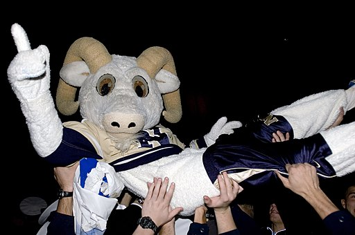 US Navy 071103-N-5215E-364 Naval Academy mascot Bill the Goat surfs across a crowd of Midshipmen during a homecoming celebration for Navy's 46-44 triple-overtime victory over Notre Dame