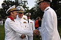 US Navy 080923-N-8273J-092 Adm. Pierre-Francois Forissier, the chief of staff of the French Navy, left, greets Vice Adm. Kevin McCoy, commander, Naval Sea Systems Command and other flag officers.jpg