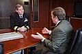 US Navy 090305-N-3271W-042 Rear Adm. Leendert R. Hering Sr., commander of Navy Region Southwest, meets with Arizona State University President Michael Crow.jpg