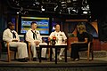 US Navy 090526-N-7975R-004 Cmdr. Curt Jones, commanding officer of Pre-Commissioning Unit (PCU) New York (LPD-21), Yeoman 2nd Class Mia Carney, and Operations Specialist 2nd Class Andrew Hahn answer questions during a live inte.jpg