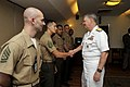 US Navy 100412-N-8273J-090 Chief of Naval Operations (CNO) Adm. Gary Roughead meets with members of the U.S. Marine Corps security detachment at the U.S. Embassy in New Delhi.jpg