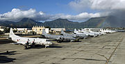 US Navy 100706-N-6855K-063 P-3C Orion aircraft from the navies of the Japan Maritime Self-Defense Force, Canada, Australia, Republic of Korean and the U.S. line the Rainbow Fleet tarmac of Marine Corps Air Station Kaneohe Bay