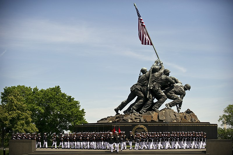 File:US Navy 110510-N-UH963-066 Marines march past the Marine Corps War Memorial during a Navy Cross medal award ceremony honoring Gunnery Sgt. Brian M.jpg