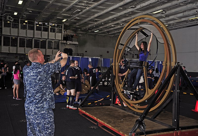 File:US Navy 110827-N-SF704-093 Senior Chief Hospital Corpsman Paul Christensen photographs his daughter on a human gyroscope during a friends and famil.jpg