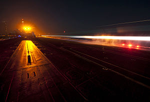 US Navy 120111-N-DR144-095 An F-A-18 Hornet launches from the flight deck aboard the Nimitz-class aircraft carrier USS Carl Vinson (CVN 70).jpg