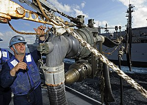 US Navy 120124-N-VH839-015 Boatswain's Mate Seaman Jesse Permenter secures a fueling hose to a hose assembly aboard the Arleigh Burke-class guided.jpg